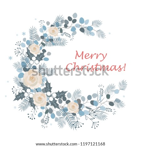 Merry Christmas wreath design. New Year decoration, vector