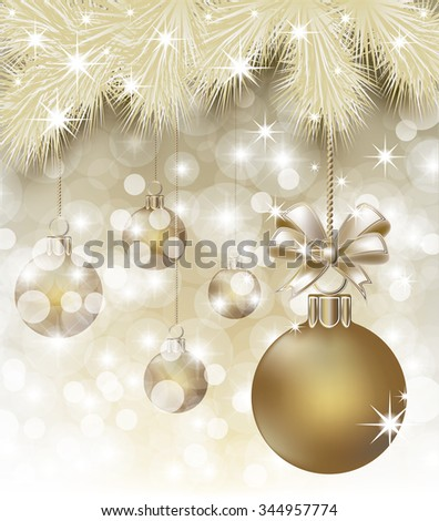 Merry Christmas y Happy New Year postcard, vector illustration