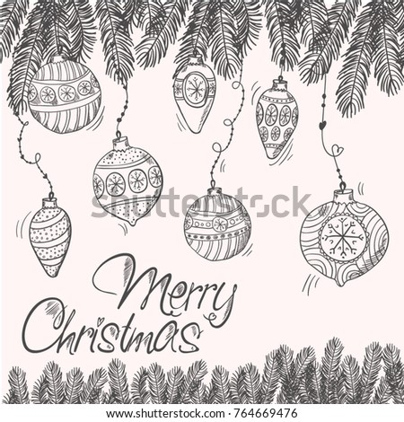Merry cristmas card with fir branches and decorations eps #764669476
