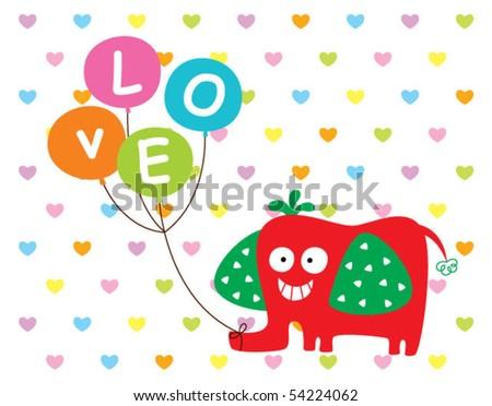 merry cute elephant with balloon love