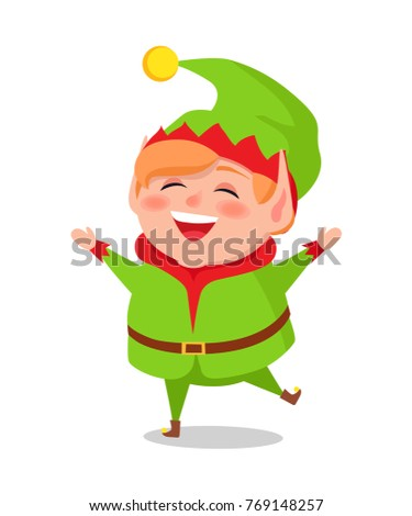 merry elf in green suit stands