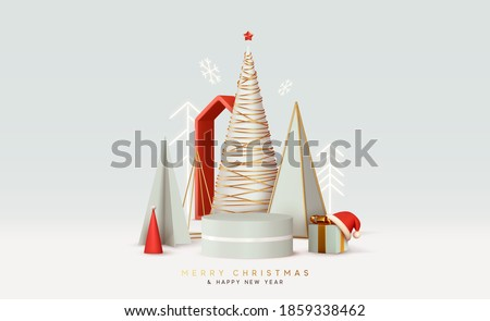 Merry Сhristmas and Happy New Year. Abstract minimal design, geometric Christmas trees, gift box, empty round Realistic stage, podium, Xmas studio. Winter holiday background. website header or banner
