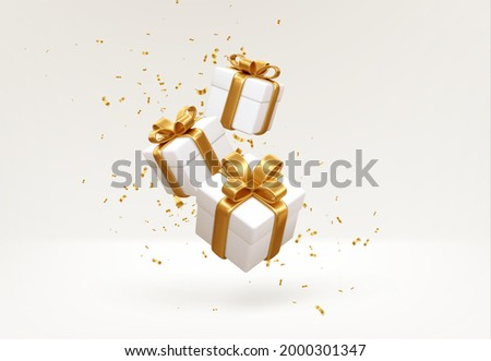 Merry New Year and Merry Christmas 2022 white gift boxes with golden bows and gold sequins confetti on white background. Gift boxes flying and falling. Vector illustration EPS10