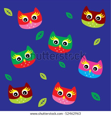 Merry Owl Wallpaper In Blue Stock Vector 52462963 : Shutterstock