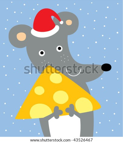 merry rat with cheese in christmas - stock vector