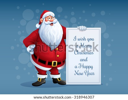 Free vector santa claus faces download free vector art stock merry santa claus standing with christmas greetings banner in arm eps10 vector illustration m4hsunfo