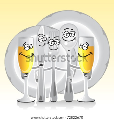 merry table set from a fork, spoon, knife and plates