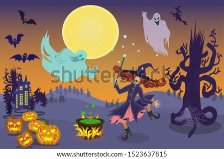 merry witch  ghosts  bats