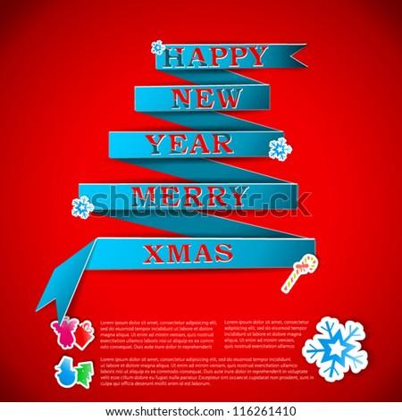 Merry XMas greeting card vector illustration - stock vector