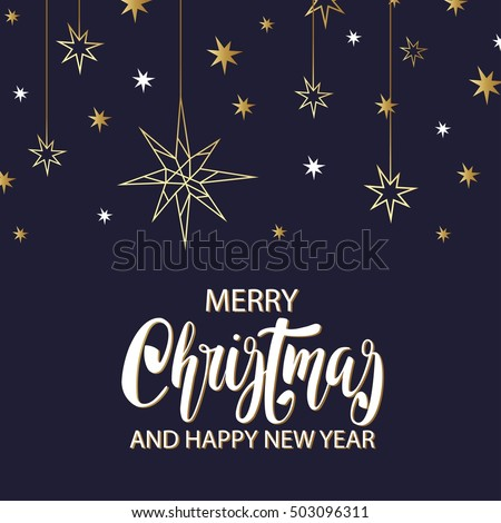 Merry Xmas luxury background with golden stars, holiday elements in trendy geometric style. Greeting card, invitation, flyer.