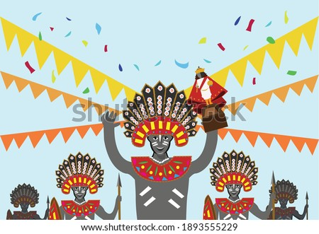 Merrymakers with tribal costume raises up a figurine of the Sto. Nino or image of baby jesus as a symbol for Sinulog, Dinagyang or Ati-atihan festivals in the Philippines. Editable Clip Art. Foto stock ©