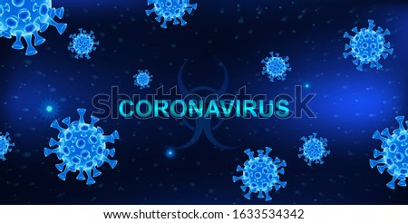 MERS-Cov (middle East respiratory syndrome coronavirus). Dark background with bacteria and the inscription coronavirus. 2019-nCoV concept. 3D  COVID-2019 elements. Vector illustration