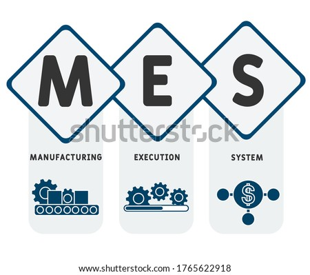 MES - Manufacturing Execution System. business concept background.  vector illustration concept with keywords and icons. lettering illustration with icons for web banner, flyer, landing page ストックフォト ©
