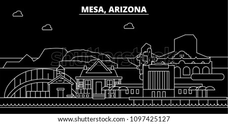 Mesa silhouette skyline. USA - Mesa vector city, american linear architecture, buildings. Mesa travel illustration, outline landmarks. USA flat icon, american line banner