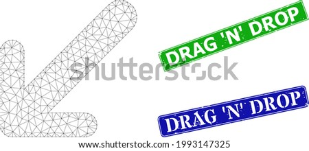 Mesh arrow down left image, and Drag 'N' Drop blue and green rectangular dirty stamps. Mesh carcass symbol is based on arrow down left icon. Stamps have Drag 'N' Drop text inside rectangle frame. Foto stock ©