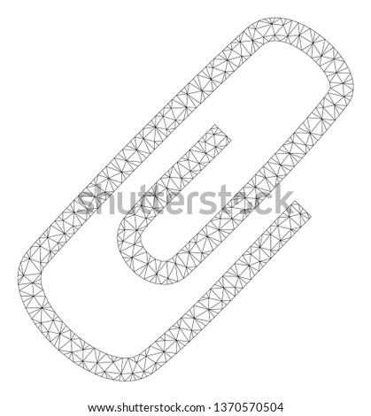 Mesh attach polygonal 2d illustration. Abstract mesh lines and dots form triangular attach. Wire frame 2D polygonal line network in vector format isolated on a white background.