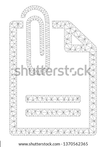 Mesh attached document polygonal icon illustration. Abstract mesh lines and dots form triangular attached document.