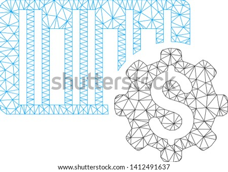 Mesh barcode price setup gear model icon. Wire carcass triangular mesh of vector barcode price setup gear isolated on a white background. Abstract 2d mesh created from triangular lines and round dots.