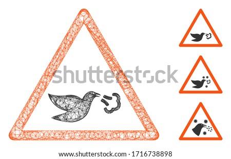 Mesh bird flu warning polygonal web symbol vector illustration. Carcass model is based on bird flu warning flat icon. Triangular mesh forms abstract bird flu warning flat model. Photo stock ©
