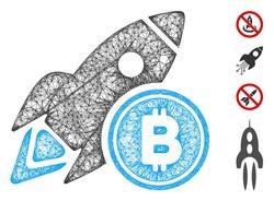 Mesh Bitcoin rocket web icon vector illustration. Carcass model is based on Bitcoin rocket flat icon. Mesh forms abstract Bitcoin rocket flat model.