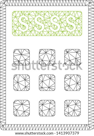 Mesh book-keeping calculator polygonal icon vector illustration. Carcass model is created from book-keeping calculator flat icon. Triangle mesh forms abstract book-keeping calculator flat carcass.