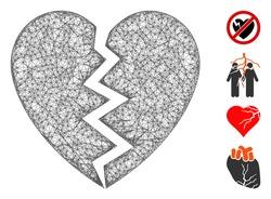Mesh broken heart web 2d vector illustration. Model is based on broken heart flat icon. Mesh forms abstract broken heart flat model. Wire frame 2D web network isolated on a white background.