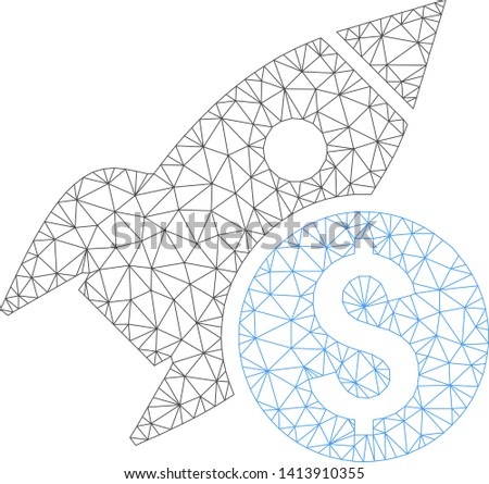 Mesh business startup rocket polygonal icon vector illustration. Carcass model is based on business startup rocket flat icon. Triangle network forms abstract business startup rocket flat carcass.