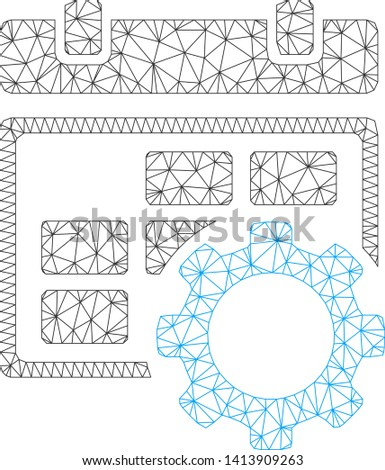 Mesh calendar settings gear polygonal symbol vector illustration. Carcass model is based on calendar settings gear flat icon. Triangle network forms abstract calendar settings gear flat model.