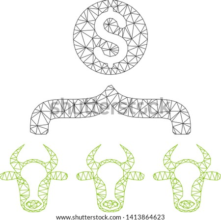 Mesh cattle result money polygonal symbol vector illustration. Model is created from cattle result money flat icon. Triangle mesh forms abstract cattle result money flat model.