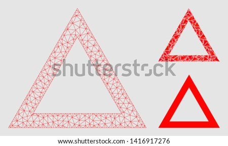 Mesh contour triangle model with triangle mosaic icon. Wire frame polygonal mesh of contour triangle. Vector mosaic of triangle parts in various sizes and color hues.