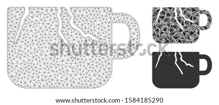Mesh damaged cup model with triangle mosaic icon. Wire carcass polygonal mesh of damaged cup. Vector collage of triangle elements in different sizes, and color shades. Abstract flat mesh damaged cup,