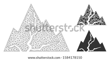 Mesh damaged rocks model with triangle mosaic icon. Wire carcass polygonal mesh of damaged rocks. Vector mosaic of triangles in various sizes, and color shades. Abstract flat mesh damaged rocks,