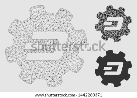 Mesh Dash setup gear model with triangle mosaic icon. Wire frame polygonal mesh of Dash setup gear. Vector mosaic of triangle parts in various sizes and color tinges.