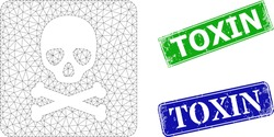 Mesh death box model, and Toxin blue and green rectangular rubber stamp seals. Mesh wireframe image created from death box pictogram. Seals contain Toxin tag inside rectangular form.