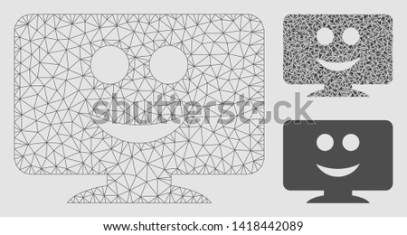 Mesh display smile model with triangle mosaic icon. Wire carcass polygonal mesh of display smile. Vector collage of triangle parts in various sizes and color tones. Abstract 2d mesh display smile,