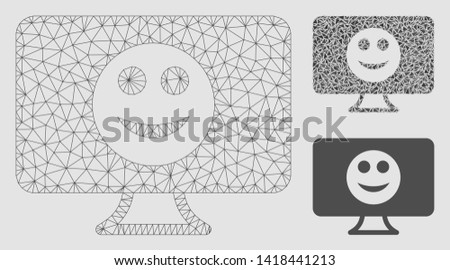 Mesh display smile model with triangle mosaic icon. Wire frame polygonal mesh of display smile. Vector collage of triangle elements in various sizes and color hues. Abstract flat mesh display smile,
