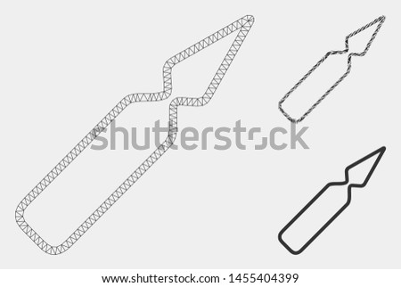 Mesh empty ampoule model with triangle mosaic icon. Wire carcass polygonal mesh of empty ampoule. Vector mosaic of triangle parts in various sizes and color shades. Abstract flat mesh empty ampoule,