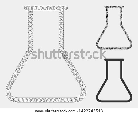 Mesh empty flask model with triangle mosaic icon. Wire frame triangular mesh of empty flask. Vector mosaic of triangle parts in different sizes and color tints. Abstract 2d mesh empty flask,