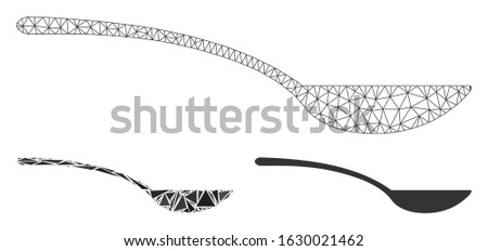 Mesh empty spoon model with triangle mosaic icon. Wire carcass triangular mesh of empty spoon. Vector mosaic of triangle elements in different sizes, and color hues. Abstract 2d mesh empty spoon,