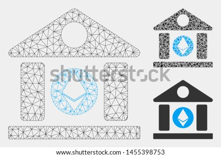 Mesh Ethereum corporation building model with triangle mosaic icon. Wire carcass polygonal mesh of Ethereum corporation building.