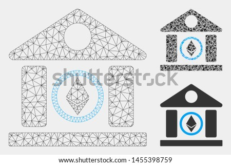 Mesh Ethereum corporation building model with triangle mosaic icon. Wire carcass triangular mesh of Ethereum corporation building. Vector mosaic of triangle parts in various sizes and color tones.