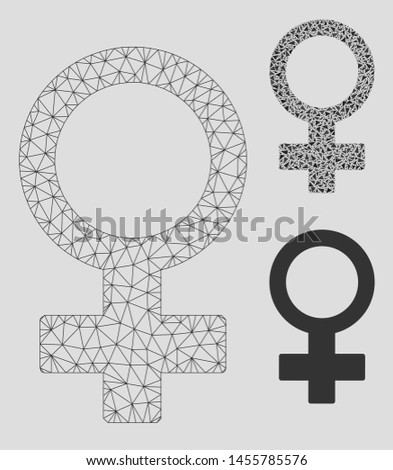 Mesh female symbol model with triangle mosaic icon. Wire frame triangular mesh of female symbol. Vector mosaic of triangle elements in various sizes, and color tones. Abstract 2d mesh female symbol,