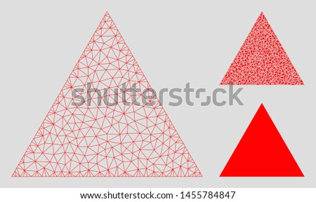 Mesh filled triangle model with triangle mosaic icon. Wire carcass polygonal mesh of filled triangle. Vector mosaic of triangle elements in variable sizes, and color tinges.