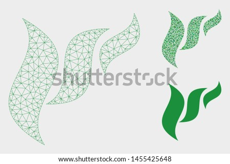 Mesh flora abstraction model with triangle mosaic icon. Wire carcass polygonal mesh of flora abstraction. Vector mosaic of triangle elements in various sizes, and color shades.