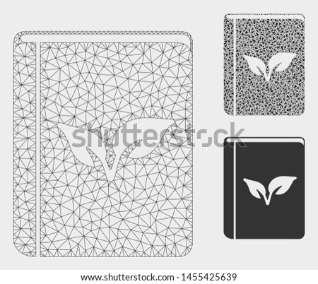 Mesh flora book model with triangle mosaic icon. Wire frame polygonal mesh of flora book. Vector composition of triangles in different sizes, and color hues. Abstract flat mesh flora book,