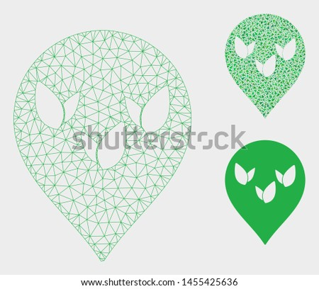 Mesh flora field marker model with triangle mosaic icon. Wire frame polygonal mesh of flora field marker. Vector mosaic of triangle elements in variable sizes, and color tones.