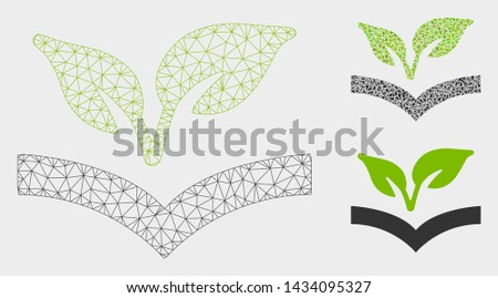 Mesh flora knowledge model with triangle mosaic icon. Wire carcass polygonal mesh of flora knowledge. Vector mosaic of triangle parts in various sizes, and color shades.