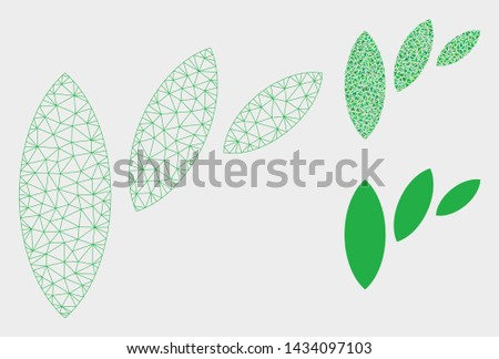 Mesh flora leaf abstraction model with triangle mosaic icon. Wire frame triangular mesh of flora leaf abstraction. Vector collage of triangles in different sizes, and color tones.