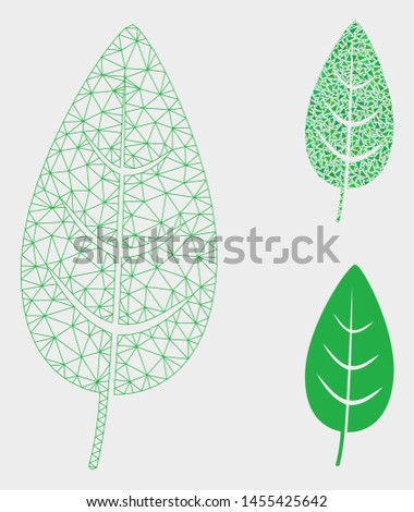 Mesh flora leaf model with triangle mosaic icon. Wire frame triangular mesh of flora leaf. Vector mosaic of triangle elements in different sizes, and color tinges. Abstract 2d mesh flora leaf,