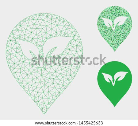 Mesh flora plant marker model with triangle mosaic icon. Wire carcass polygonal mesh of flora plant marker. Vector composition of triangle elements in different sizes, and color shades.